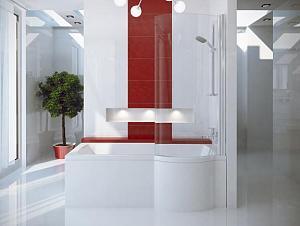Besco INSPIRO 170 L - vaňa s vaňovou zástenou 150x70 cm