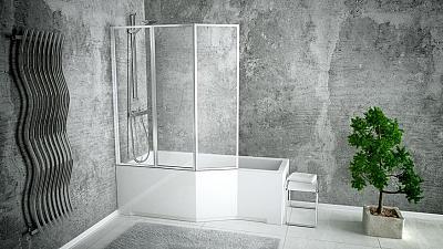 Besco INTEGRA 150 L - vaňa s trojdielnou vaňovou zástenou 150x75 cm