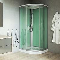 Mereo - sprchový box bez strechy - štvrťkruhový s vaničkou z liateho mramoru 90x90 cm