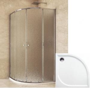 Mereo sprchový set 90x90x185 s vaničkou z liateho mramoru