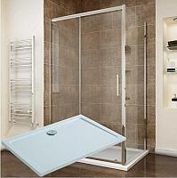 Sanovo DELIVERY KOMBI CLEAR - obdĺžnikový sprchový set s vaničkou z liateho mramoru 120x90cm