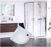 Sanovo Delivery ROUTE - štvrťkruhový sprchovací kút s vaničkou z liateho mramoru - číre sklo