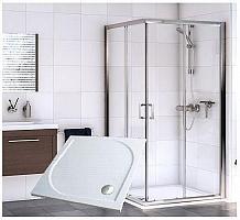 Sanovo DELIVERY SQUARE CLEAR - sprchový set 90x90x190cm s vaničkou z liateho mramoru