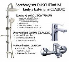 Sprchový set DUSCHTRAUM biely s batériami CLAUDIO