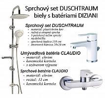 Sprchový set DUSCHTRAUM biely s batériami DIZIANI
