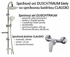 Sprchový set DUSCHTRAUM biely so sprchovou batériou CLAUDIO
