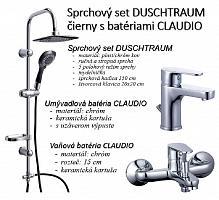 Sprchový set DUSCHTRAUM čierny s batériami CLAUDIO