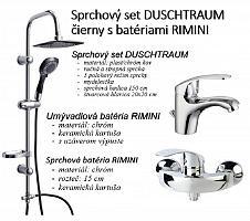 Sprchový set DUSCHTRAUM čierny s batériami RIMINI